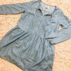 Old Navy Blue Denim Long-Sleeve Babydoll Dress